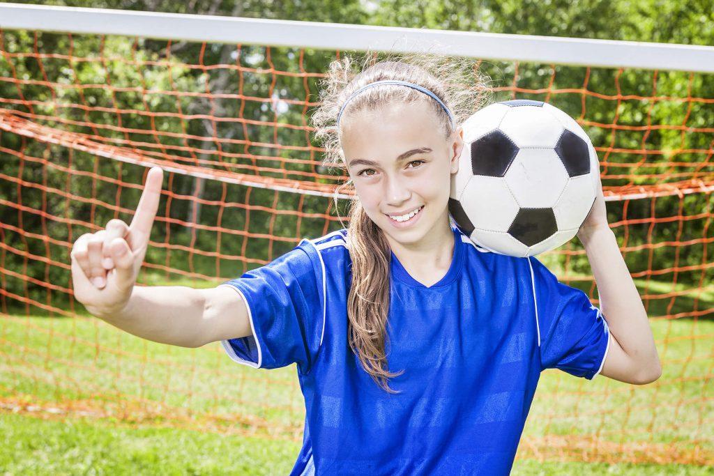 Soccer playing girl